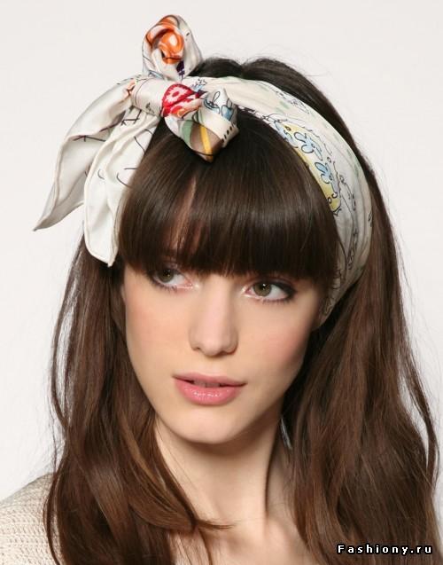Причёски с повязкой на голове с чёлкой