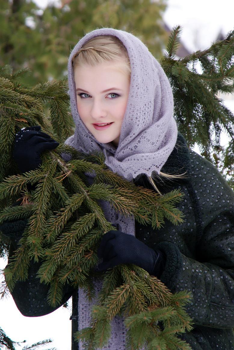 Палантин на голову зимой фото