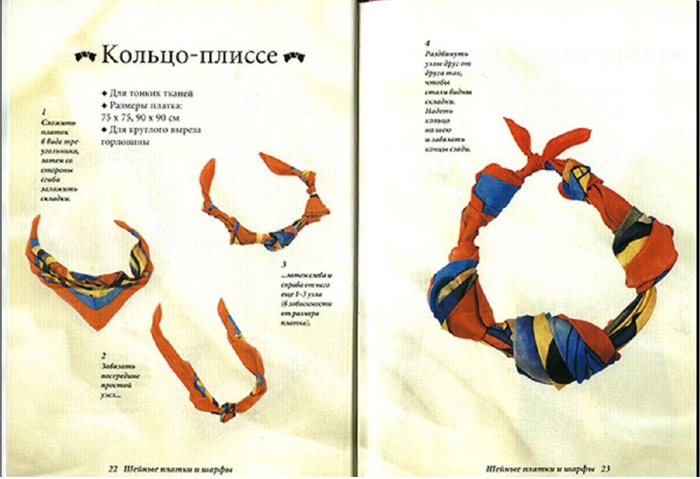 Схема завязывания шарфов на шею