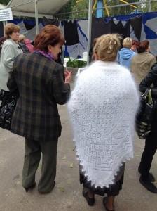 Большой конкурсный платок из белого козьего пуха